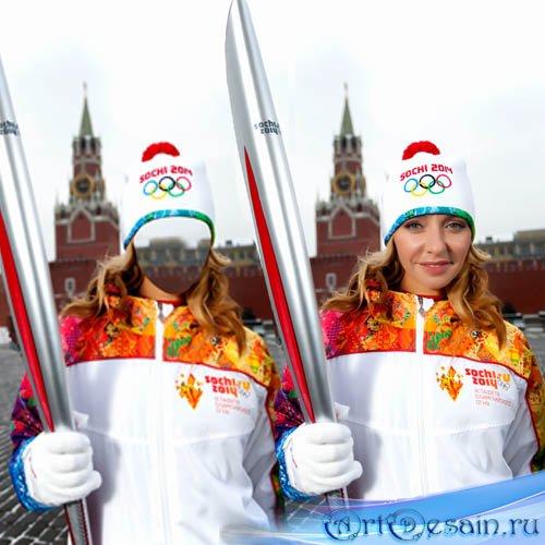 Женский шаблон PSD - Блондинка с Олимпийским факелом
