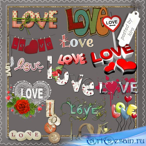 Клипарт  - Надписи о любви Love