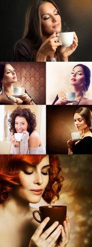 Растровый клипарт - Девушки и кофе