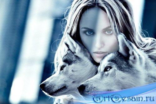Шаблон для девушек - Девушка с двумя красивыми волками