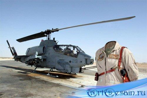 PSD шаблон для девушек - В форме солдата у вертолета
