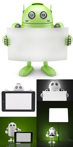 Роботы с плакатом и смартфоном