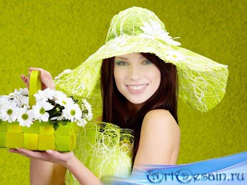 Шаблон женский - Девушка с корзинкой цветов