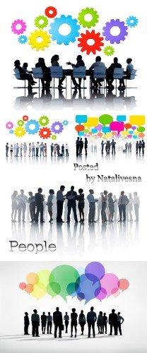 Люди  на белом фоне с цветными элементами