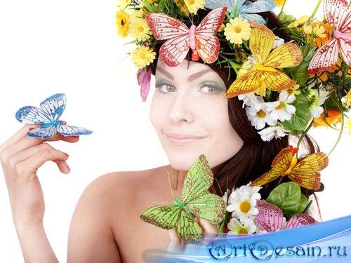 Шаблон для фото - Милашка в красивом веночке с бабочками