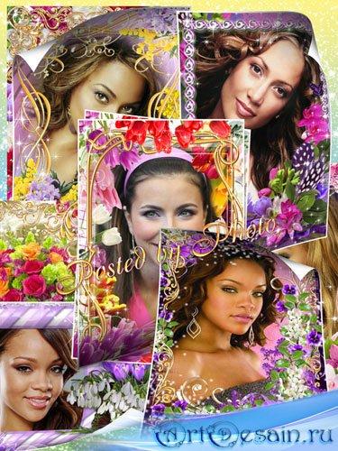 Набор цветочных рамок к празднику 8 Марта