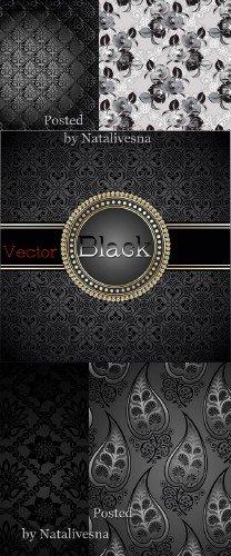Черные цветочные  фоны в Векторе с узорами