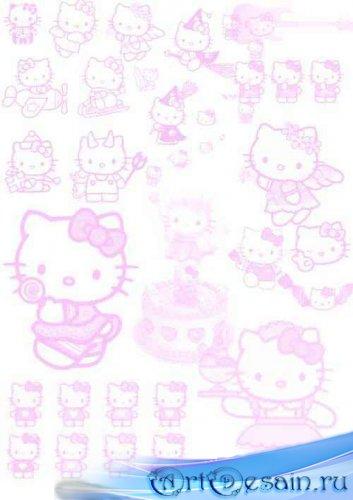 Скачать Набор кистей  для Фотошопа - Hello Kitty