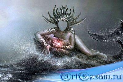 Шаблон psd женский - Королева океана на ките