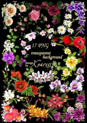 Набор цветочных уголков для фотошопа на прозрачном фоне - Весна идет