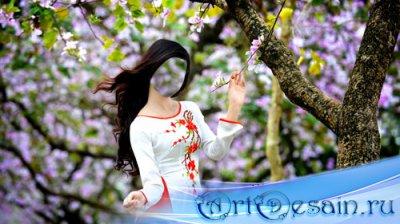 Шаблон для девушек - Симпатичная девушка возле цветущего дерева