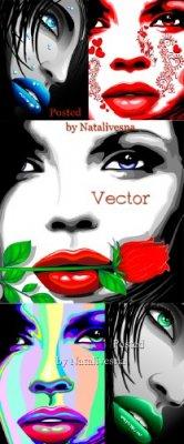 Лица девушек  с арт оформлением в Векторе