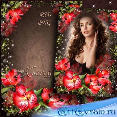 Женская романтическая рамка для фото с красными цветами - Прекрасные цветы