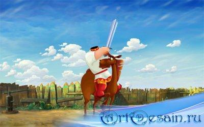 Шаблон для фотошопа - Богатырь с мечом на веселом коне
