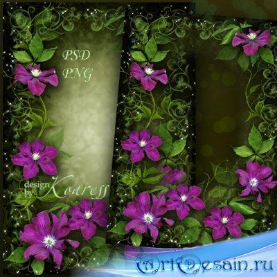 Женская романтическая рамка для фото - Яркие, чудесные цветы