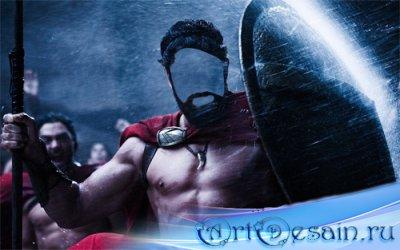 Шаблон psd мужской - Бесстрашный спартанец под ливнем на поле боя