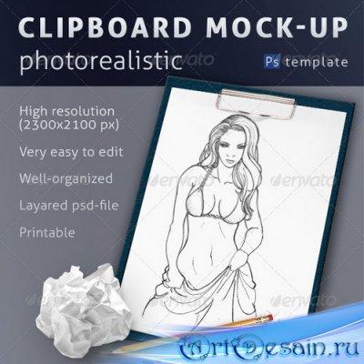 Смарт шаблон - Photorealistic Clipboard Mock-up