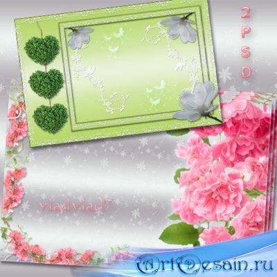 Цветочные рамки для фотошопа - Розовый цвет и зеленые сердечки, белые цветы