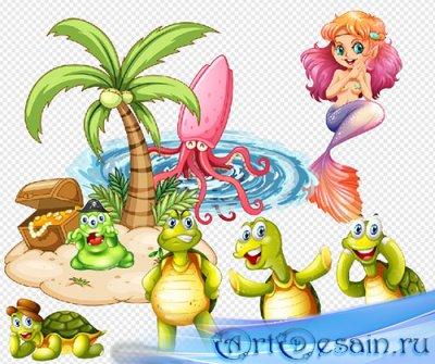 Клипарт- Остров сокровищ с черепашками и русалкой на прозрачном фоне