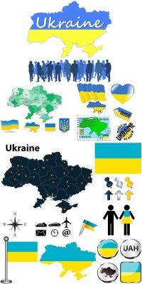Карта Украины и символика в векторе