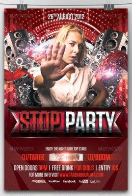Пригласительный флаер - Stop Party Flyer