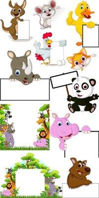 Веселые мультяшные животные с плакатами в векторе