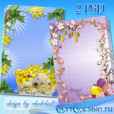 Пасхальные рамки для фотошопа - Нарциссы, веточки вербы, яблоневый цвет, кр ...