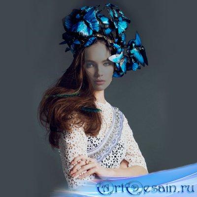 Шаблон для фотомонтажа - Шляпа из бабочек