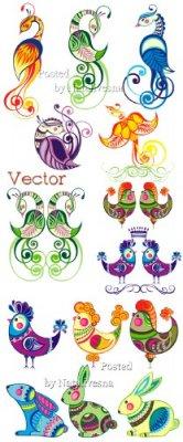 Декоративные птицы, петушки и зайчики в векторе