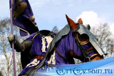 Мужской шаблон - Рыцарь на коне с флагом