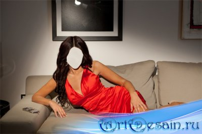 Шаблон для Photoshop - В вечернем платье на диване