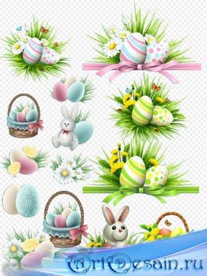 Клипарт - Великая пасха Христос воскреси, зайчик цветы яйца на прозрачном ф ...