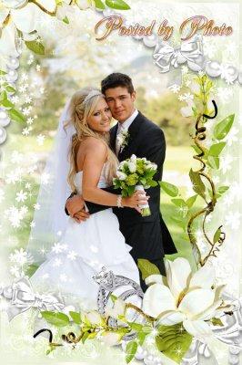 Свадебная рамка для фото - Желаем счастья много, много