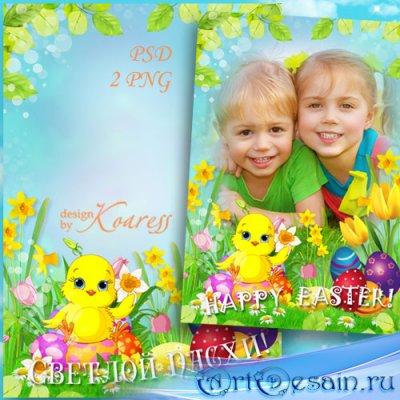 Праздничная пасхальная рамка для фотошопа с весенними цветами - Светлый пра ...