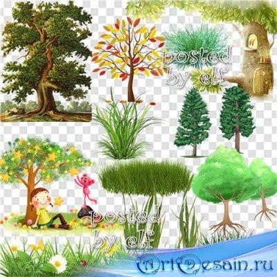 Трава и деревья - клипарт в png