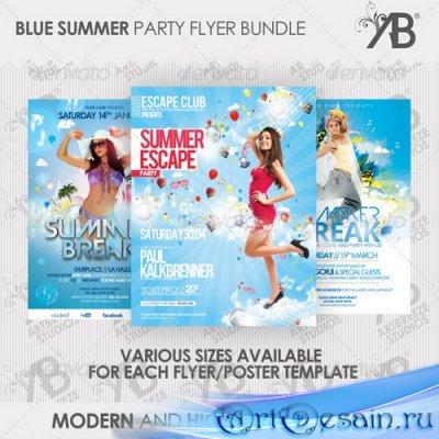 PSD исходник - Summer Party Flyer-Poster Bundle - 2561141