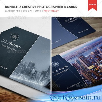 PSD исходник визитки - Bundle - 2 Creative Photographer Business Cards