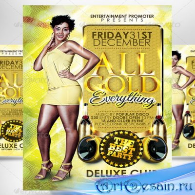 PSD флаер - All Gold Everything Party Flyer - 3539375