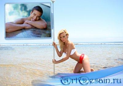 Рамка для фотошоп - Шикарная блондинка на пляже