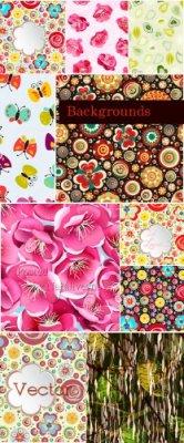 Цветочные фоны в Векторе из красивых цветов
