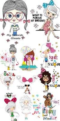 Очаровательные модные девушки - векторный клипарт