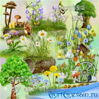 Летний PNG клипарт - Цветы, лужайки, деревья