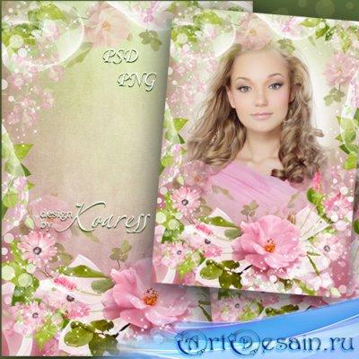 Романтическая рамка для фотошопа - Весна в нежных красках