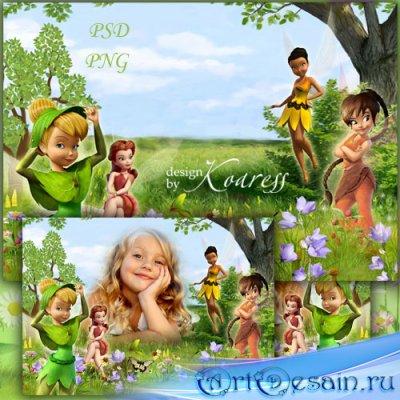 Рамка для фото с героями мультфильма Диснея - На прогулке с феями