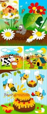 Детские фоны в Векторе с яркими цветами и животными