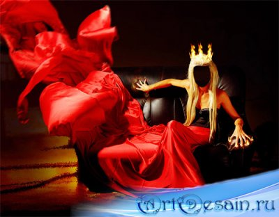 Шаблон для фотошопа - Огненная королева