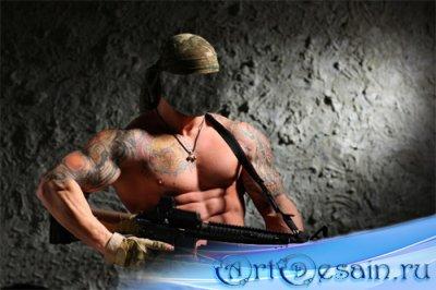Шаблон psd мужской - Накаченный боец с пулеметом