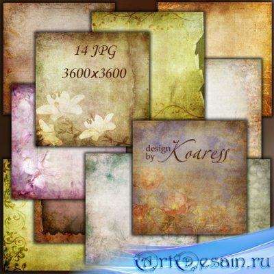 Набор винтажных фонов для дизайна с цветами и цветочными орнаментами
