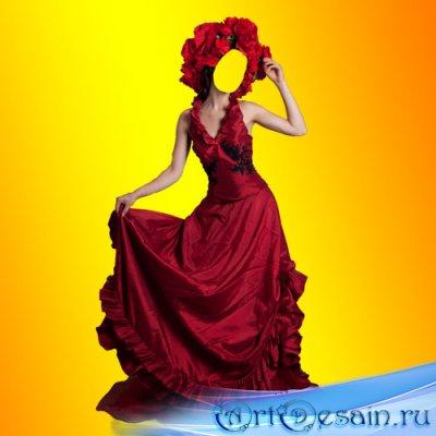 PSD шаблон для девушек - Красное платье для девушек