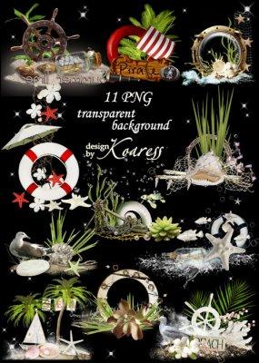 Набор морских кластеров для фотошопа - Волны, чайки, море, якоря, ракушки